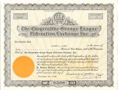 Cooperative Grange League Federation Exchange > New York GLF stock certificate