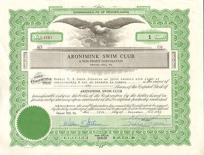 Aronimink Swim Club > Drexel Hill Pennsylvania ASC stock certificate scripophily