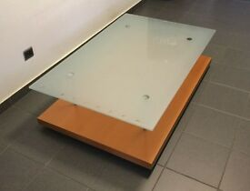 Designer Pascal Mourgue coffee table, wood/glass, RRP 560