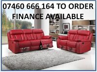 879 New 2 and 3 seater leather recliner sofa