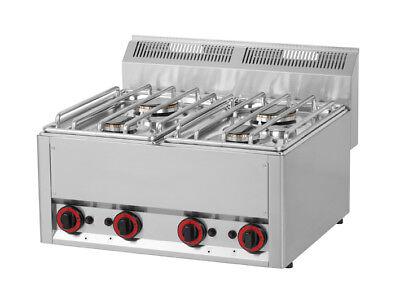 Edelstahl Gasherd 13,2 kW mit 4 Flammen, Tischgerät 660x600mm - Gastronomie ()