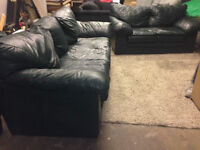 Dark Green Leather COUCH SET    -  delivery