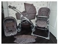 Mamas and papas mix 9 in 1 ultima pram, pushchair, car seat isofix travel system polka