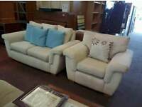 Light fabric 2 seater sofa with matching armchair