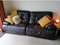 **FREE** 3 seater brown leather reclining settee