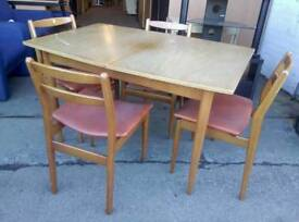 Retro teak dinning table with 4 chairs
