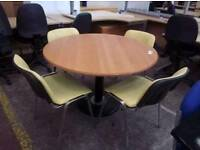 meeting table with 4 yellow chairs