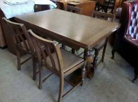 Vintage Dining Table w Stylized Trim