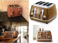 De'Longhi Vintage Toaster, 4-Slice - Tan Leather Brown