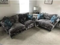 Sofology 3 Seater settee and 2 Seater cuddle chair, Silver crushed velvet excellent condition !