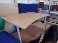Waved office desks, x8 in stock