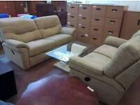 G-plan beigh fabric 3+2 seater recliner sofa set in excellent condition