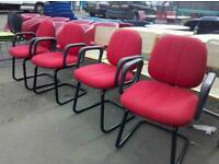 Set of 4 red static chairs