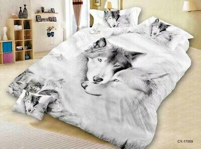 5 D Bettwäsche-Set! Wolfs - Motiv 4 Teilig 160 x 200 cm Baumwollsatin