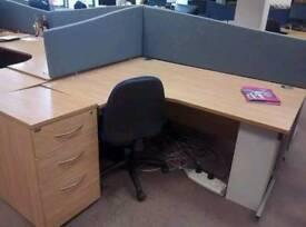 Oak effect office corner desks
