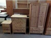 Pine double wardrobe with matching drawers and bedside cabinet in good condition