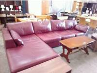Marks and Spencer red leather corner sofa in excellent condition
