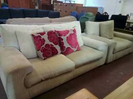Fabric sofa suite with cuddle chair