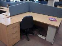 Oak effect corner desks available in left or right handed £45 each x60 available