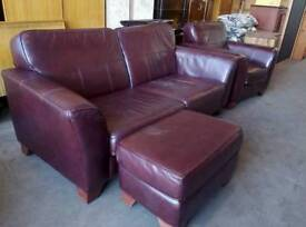 Brown leather 2 piece suite with pouffe