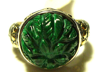 CYDONIA & CO STERLING SILVER 18K GOLD CARVED MALACHITE FLOWER RING RETAIL $189