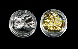 2 3g pots of nail art foil leaf flakes gold pot and silver for nails decoration