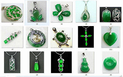 Beautiful 12 Style Green Jade Silver Amulet Pendant Necklaces