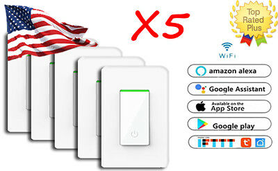 5 Pack Toggle - Smart WiFi Light Switch in Wall - Compatible With Alexa & Google