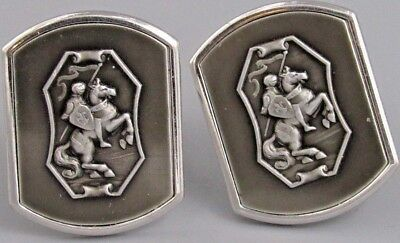 Excellent Mens Centurion Knight on Horse CUFFLINKS Costume Vintage Jewelry O 10](Knight On Horse Costume)