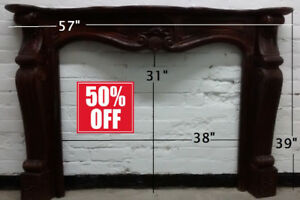 50% OFF- Solid Wood Hand Carved Fireplace Mantel /Mantle
