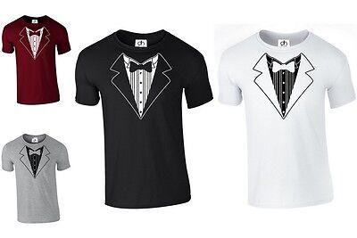 Smoking Anzug Schleife Krawatte lustig Witz Kostüm T Shirt Hochzeit Herrenabend