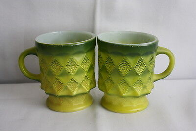 Set of 2 vintage Anchor Hocking Fire King Kimberly Diamond Green coffee mugs