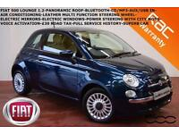 2013 Fiat 500 1.2 (69bhp) LOUNGE-PAN ROOF-BLUETOOTH-LOW MILES-1 X OWNER-£30 TAX