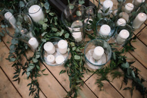 Glass candle votives with pillar candles