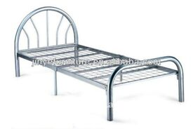METAL CHROME SILVER BRUSHED SINGLE BED FRAME ONLY