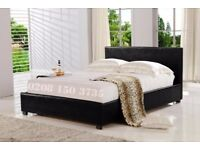 💛💛SAME DAY FAST DELIVERY💛💛Double Leather Bed Frame With Mattress -- Order Now - Black / Brown