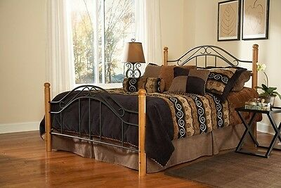 Hillsdale Winsloh Bed Set - King - w/Rails Black/Medium Oak 164BKR Bed (Winsloh Metal Bed)