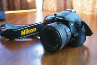 Nikon D5300 with 35mm f/1.8 lens and kit