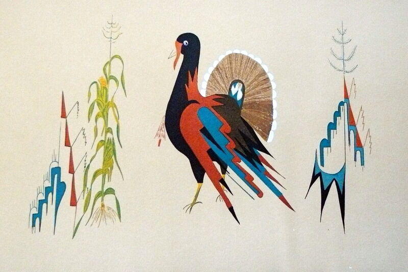 "1930s NATIVE AMERICAN PUEBLO INDIAN LITHOGRAPH ""Turkey"""