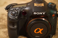 Sony Alpha A77 DSLR camera body and two A-mount lenses