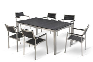 Stainless Steel Patio Table with 8 Chairs