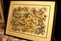 ORIGINAL RETA COWLEY WATER COLOUR ABSTRACT FLOWERS