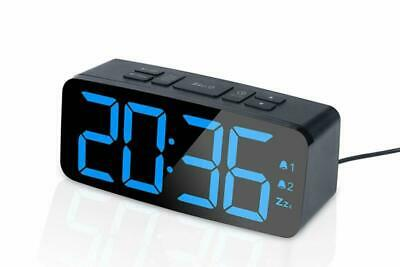 Alarm Clock Radio with USB Charger Port Large LED Screen for Bedroom Black New