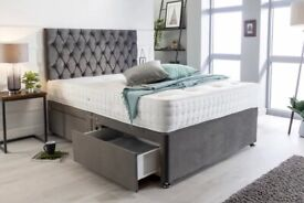 BRAND NEW Single Bed Frame - Mcpherson Plush Velvet Divan Bed