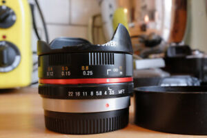 Bower 7.5mm f3.5 fisheye lens for micro four thirds