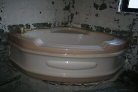 Large Corner Bath with inset seat, Pedestal Wash hand basin and WC for sale