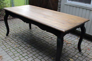 Weathered Wood Top Rustic Dining Table