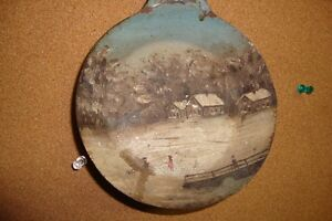 """brass 6"""" frying pan Patent 1876. tole painting"""