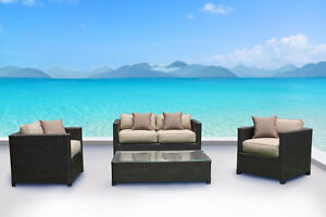 NEW!  Outdoor Wicker Sunbrella Conversation Sofa Set