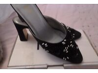 NEW * Black Slip On Shoes with Beading Size 6